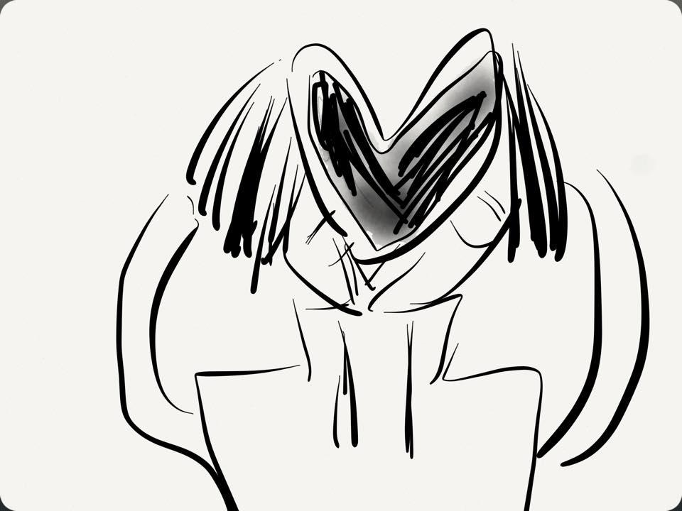 爱心手绘图黑白