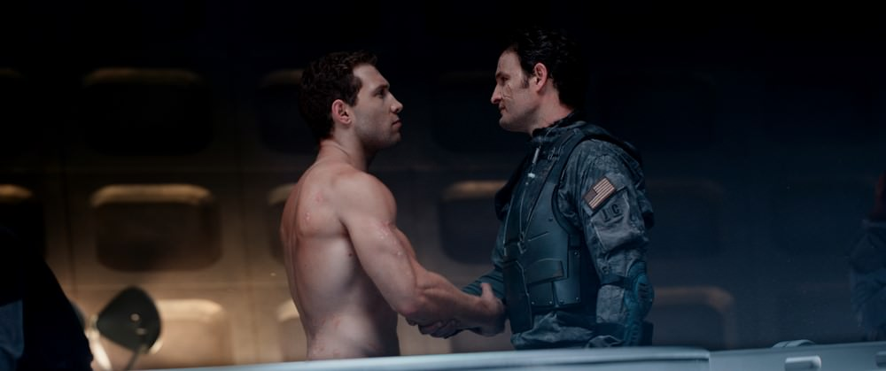 Left to right: Jai Courtney plays Kyle Reese and Jason Clarke plays John Connor in Terminator Genisys from Paramount Pictures and Skydance Productions.
